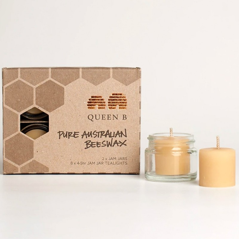 Queen B Beeswax Jam Jar Tealight Candles (Set of 8 with 2 Jars) - 4hr Burn Time