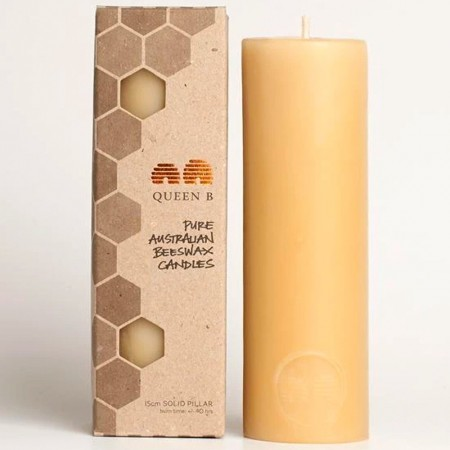 Queen B Beeswax Solid Pillar Candle - 15cm/40hr Burn Time