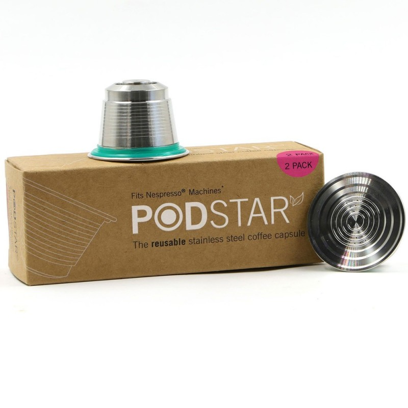 Pod Star reusable stainless steel coffee capsule double 2pk