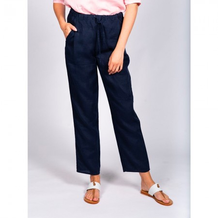 Naturals by O & J Classic Linen Pant - Dark Navy