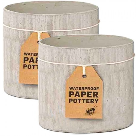EcoMax Paper Pottery Cabarita Pot Set Medium (2) - Whitewash