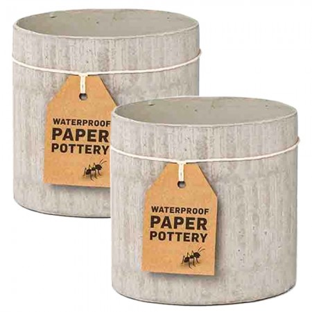EcoMax Paper Pottery Cabarita Pot Set Small (2) - Whitewash