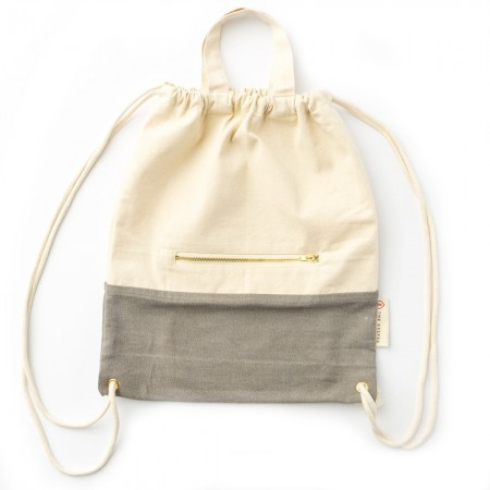 The Keeper Organic Cotton Two-Tone Satchel Drawstring Bag - Rock Salt