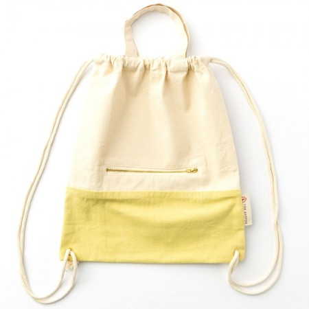 The Keeper Organic Cotton Two-Tone Satchel Drawstring Bag - Turmeric