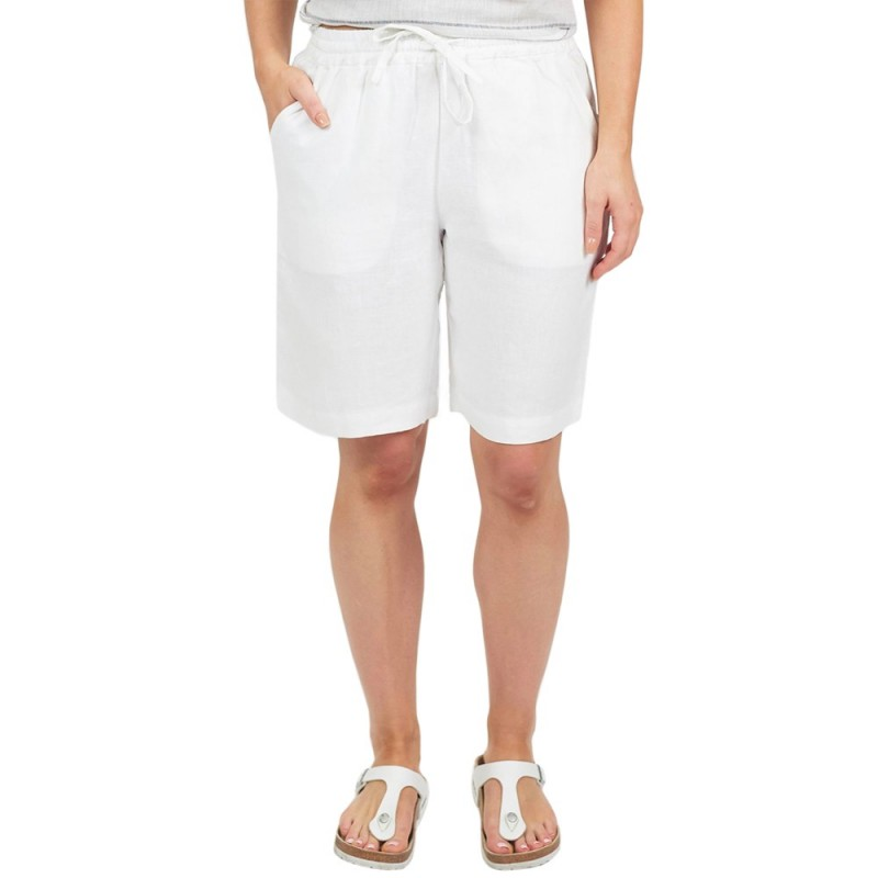 Naturals by O & J Darcie Linen Shorts - White