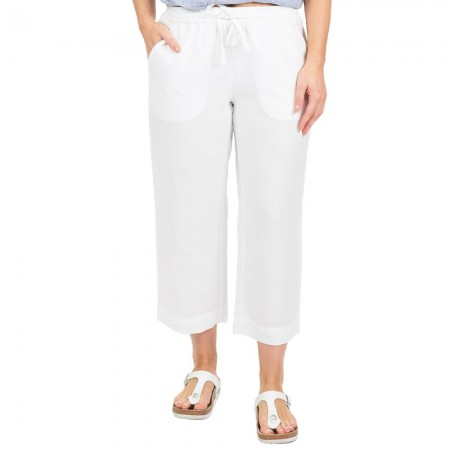 Naturals by O & J Classic Linen Pant - White