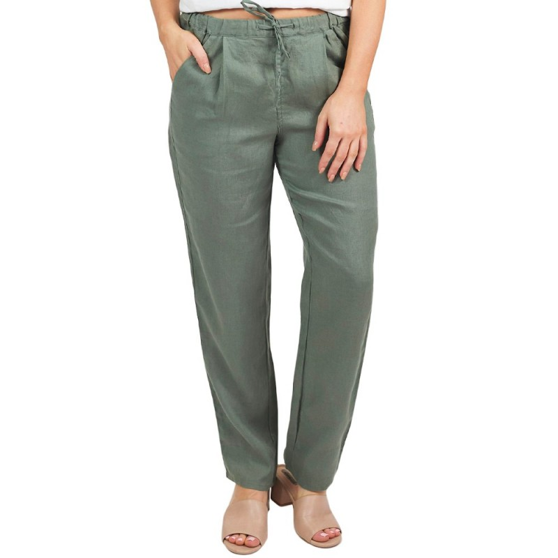 Naturals by O & J Classic Linen Pant - Sage