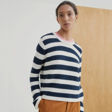 Kowtow Stripe Crew Jumper - Navy Shell