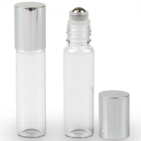 Clear Glass Roll On Reusable Bottle 15ml (Silver Lid)