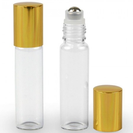 Clear Glass Roll On Reusable Bottle 15ml (Gold Lid)