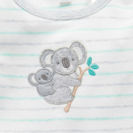 Purebaby Organic Cotton Koala Family Growsuit - Eucalyptus Stripe