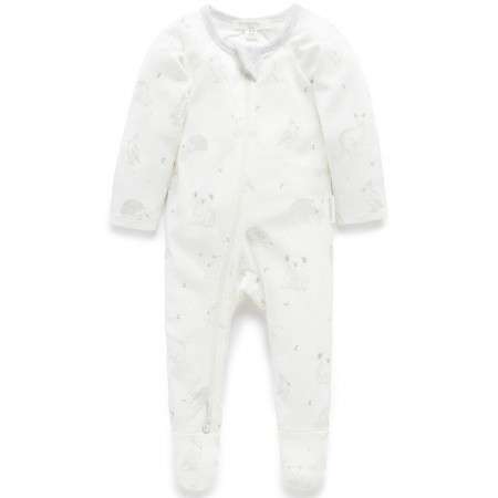 Purebaby Organic Cotton Printed Zip Growsuit - Pale Grey Australia