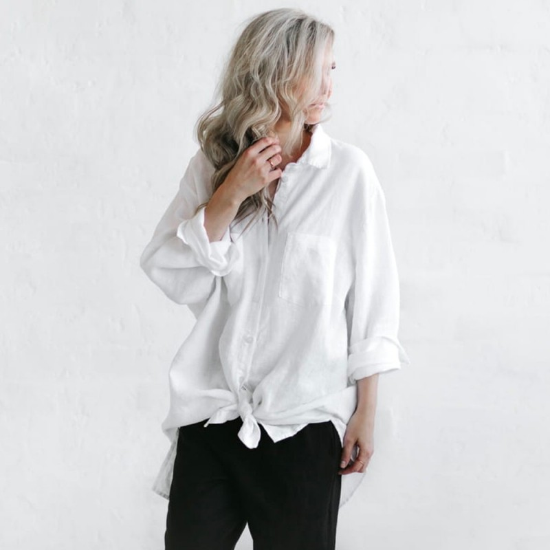 Seaside Tones Boyfriend Shirt - White
