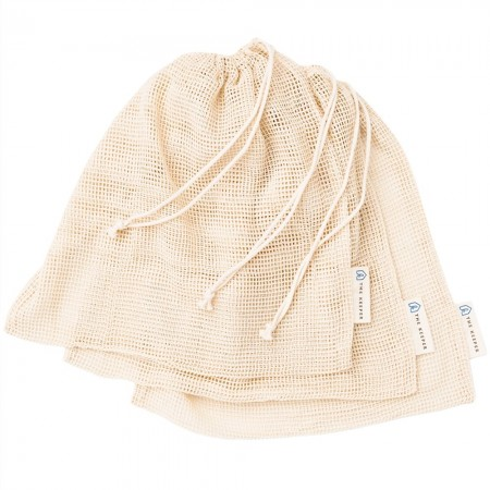 Organic Cotton Mesh Produce Bags - Set of 3 Medium