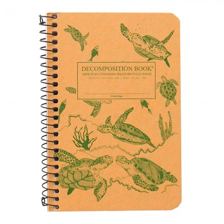 Decomposition Pocket Spiral Notebook (Lined) - Green Sea Turtles