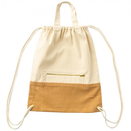 The Keeper Organic Cotton Two-Tone Satchel Drawstring Bag - Paprika