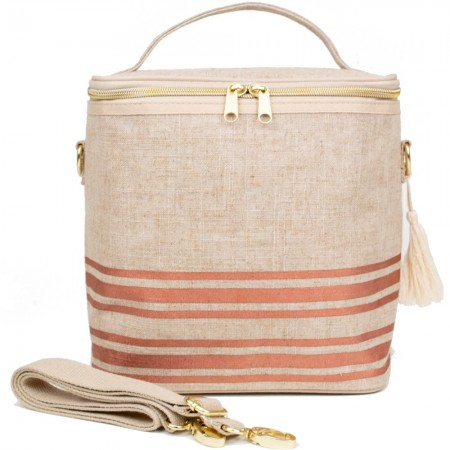 SoYoung Large Raw Linen Insulated Cooler Bag - Rose Gold Stripe