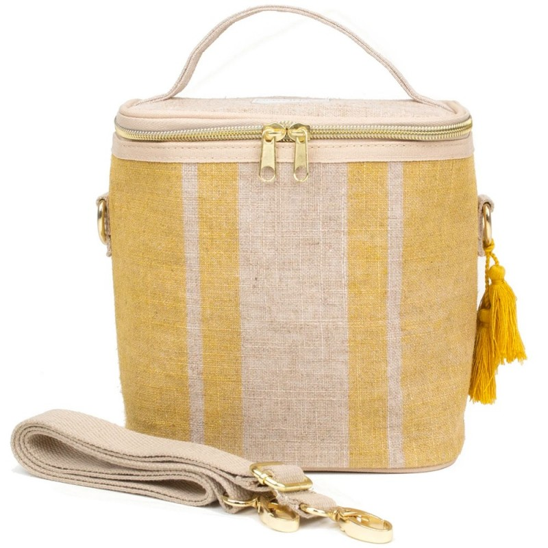 SoYoung petite paper poche cooler bag SML uncoated Linen Mustard Stripe