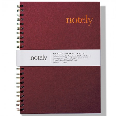Notely Lined Spiral Notebook A5 - Wine/Copper