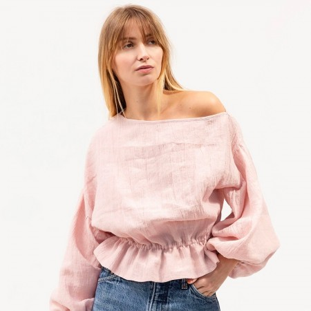 Dominique Healy Anna Frill Linen Blouse - Blush