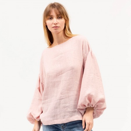 Dominique Healy Bella Linen Blouse - Blush