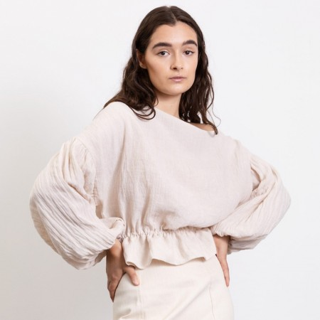 Dominique Healy Anna Frill Linen Blouse - Natural