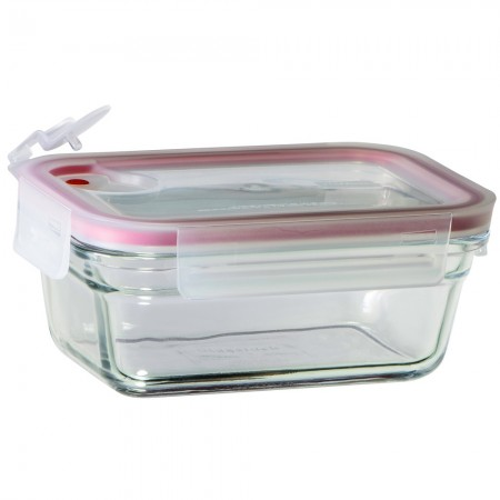 Glasslock Aircap Oven Safe Container 460ml - Rectangle Red