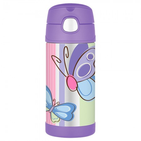 Thermos FUNtainer 335ml Stainless Steel Water Bottle with Straw - Purple Butterfly