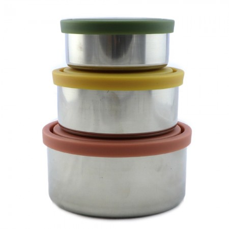 Ever Eco Stainless Steel Round Nesting Containers Set of 3 - Autumn