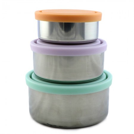 Ever Eco Stainless Steel Round Containers Set of 3 - Spring Pastels