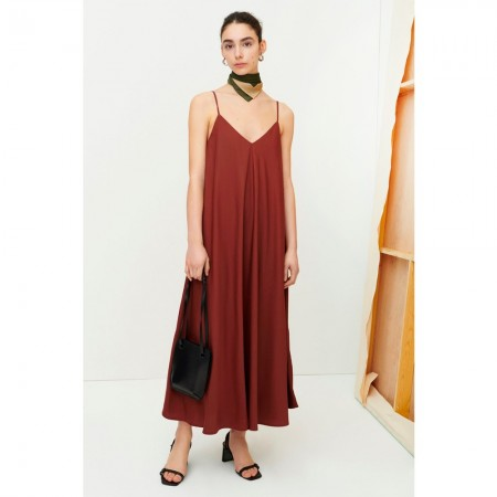 Kowtow Dawn Slip Dress - Mahogany