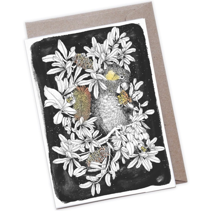 The Scenic Route Large Greeting Card - Black Cockatoo