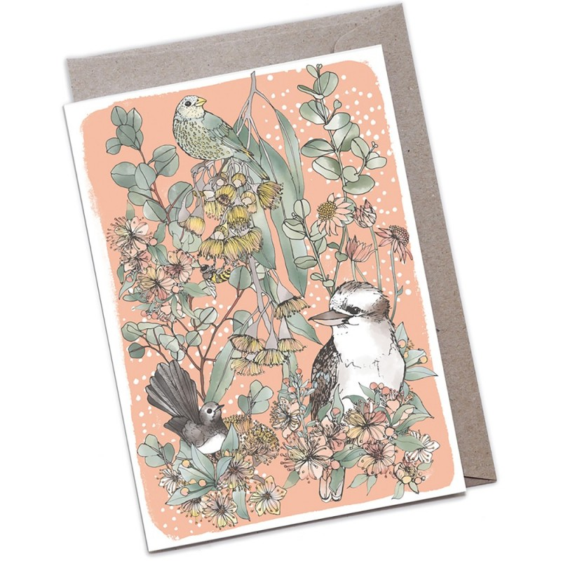 The Scenic Route Large Greeting Card - Kookaburra & Friends