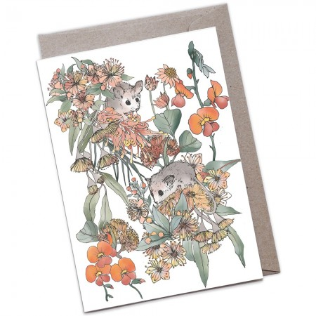 The Scenic Route Large A5 Greeting Card - Pygmy Possums
