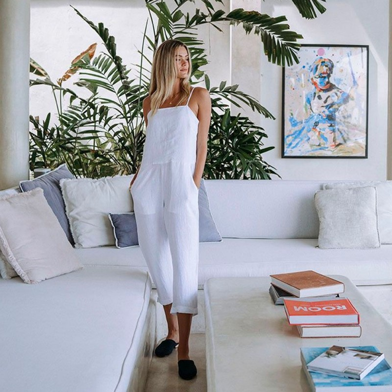 Humidity Love Linen Jumpsuit - White