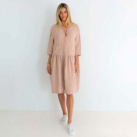 Humidity Luca Linen Dress - Blush