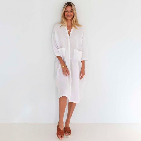 Humidity Luca Linen Dress - White