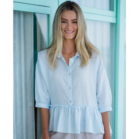 Humidity Maddison Linen Top - Light Blue
