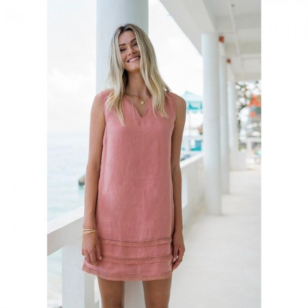 Humidity Elli Linen Dress - Rose Clay