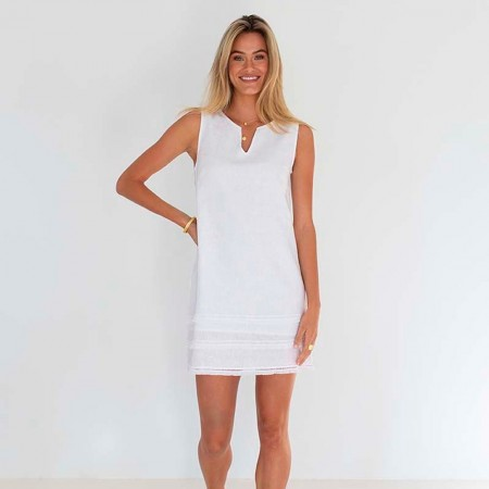 Humidity Elli Linen Dress - White