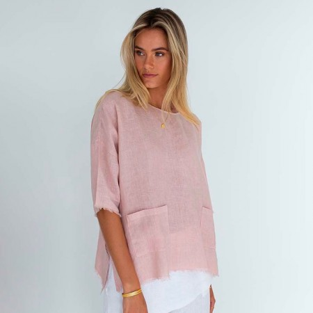 Humidity Tala Linen Top - Pink
