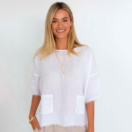 Humidity Tala Linen Top - White
