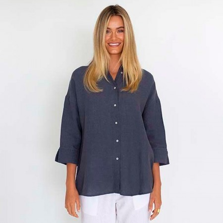Humidity Empire Linen Shirt - Steel Blue