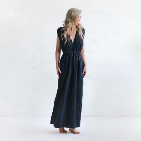 Seaside Tones Column Dress - Navy