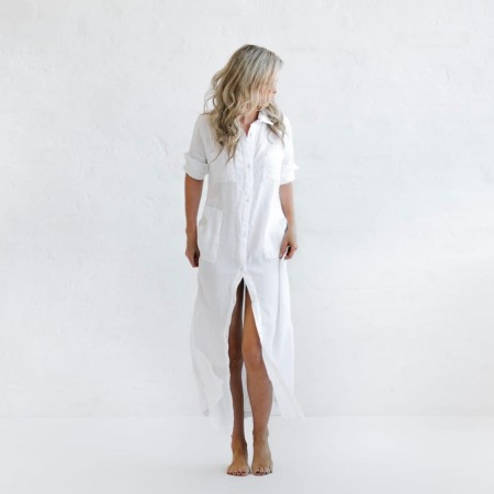 Seaside Tones Maxi Shirt Dress - White