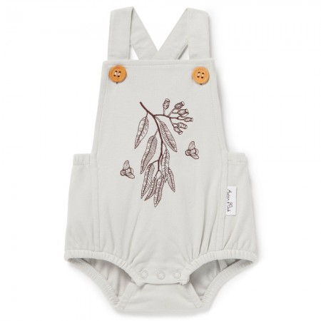 Aster & Oak Organic Cotton Bee Embroidered Playsuit - Silver Grey