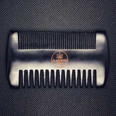 Blackwood Hemp Wooden Beard Comb - Black