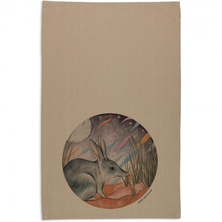 The Linen Press Ingrid Bartkowiak Organic Cotton Tea Towel - Greater Bilby
