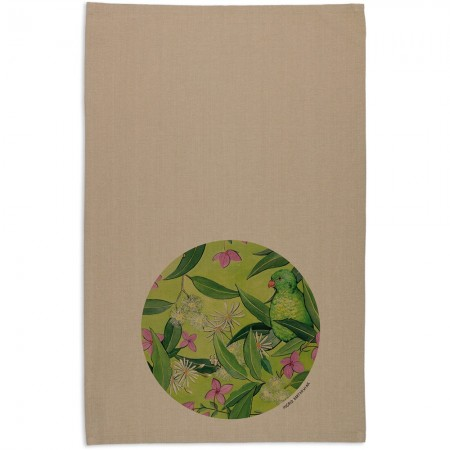 The Linen Press Ingrid Bartkowiak Organic Cotton Tea Towel - Scaly Breasted Lorikeet