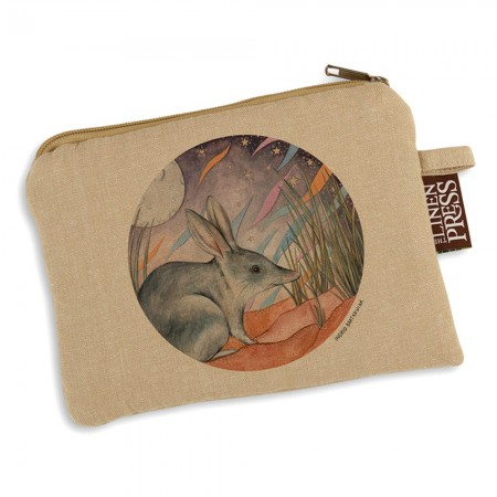 The Linen Press Organic Cotton Ingrid Bartkowiak Purse Large - Greater Bilby